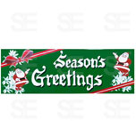12 X 35 SIGN/ SEASONS GREETINGS - SANTA ON GREEN BG.