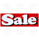 12 X 35 SIGN/ SALE- WHITE LETTER ON RED