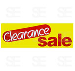 12 X 35 SIGN/ CLEARANCE SALE- RED AND WHITE LETTERS ON YELLOW BG.