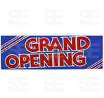 12 X 35 SIGN/ GRAND OPENING - RED LETTERS ON BLUE BG.